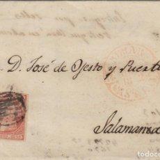 Sellos: CARTA ISABEL Nº 12 ,6 CUARTOS ,AÑO 1852 .- MAT PARRILLA FECHADOR BAEZA BÉJAR DEST SALAMANCA LLEGADA. Lote 140098158