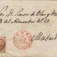 Sellos: ENVUELTA DE CARTA ISABEL Nº 12 ,6 CUARTOS ,AÑO 1852 -MAT PARRILLA FECHADOR BAEZA DE VALENCIA/ MADRID. Lote 140100558