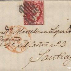 Sellos: CARTA ISABEL Nº 17 , 6 CUARTOS AÑO 1853 -MAT PARRILLA FECHADOR BAEZA DE MADRID / SANTIAGO . Lote 140103962