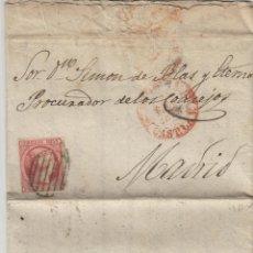 Sellos: CARTA ISABEL Nº 17 , 6 CUARTOS 1853 -MAT PARRILLA FECHADOR BAEZA .MADRID / SANTIAGO- TEXTO INTERESA. Lote 140119770