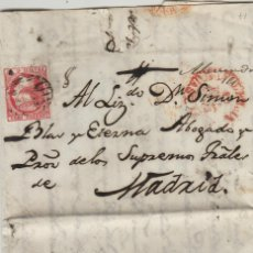 Sellos: CARTA ISABEL Nº 17 , 6 CUARTOS 1853 -MAT PARRILLA FECHADOR BAEZA . PALENCIA A MADRID . Lote 140119910