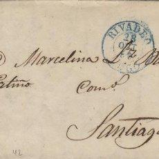 Sellos: CARTA ISABEL AÑO 1856 , 4 CUARTOS ROJO - DE RIBADEO ( LUGO ) A SANTIAGO ( LA CORUÑA ) . Lote 140153986