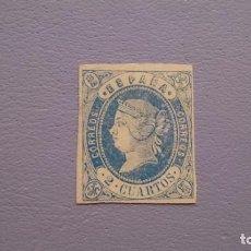 Timbres: ESPAÑA - 1862 - ISABEL II - EDIFIL 57 - MH* - NUEVO - MARQUILLA ROIG - VALOR CATALOGO 51€.. Lote 140155034