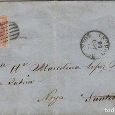 Sellos: CARTA ISABEL AÑO 1856 , 4 CUARTOS ROJO -BETANZOS - NOYA ( LA CORUÑA ) MAT DE LLEGADA Y TRÁNSITO . Lote 140155262