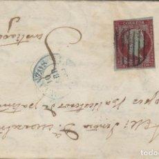 Sellos: CARTA ISABEL Nº 40 AÑO 1855 , 4 CUARTOS ROJO - MAT PARRILLA ORIGEN BETANZOS ( CORUÑA ) / SANTIAGO. Lote 140165526