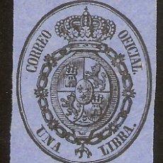 Sellos: ESPAÑA EDIFIL 38 (*) 1 LIBRA NEGRO SOBRE AZUL ESCUDO ESPAÑA 1855 NL086. Lote 140174390