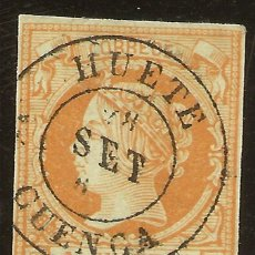 Sellos: ESPAÑA EDIFIL 52 (º) 4 CUARTOS NARANJA SOBRE VERDE ISABEL II 1860/61 NL557. Lote 140310994