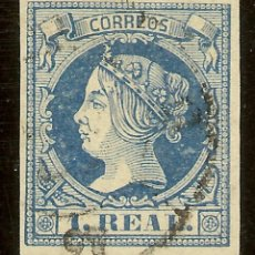 Sellos: ESPAÑA EDIFIL 55 (º) 1 REAL AZUL ISABEL II 1860/61 NL1056. Lote 140312098
