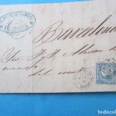 Sellos: SOBRE , SELLO 4 CUARTOS ISABEL II , COLOR AZUL Y CUÑOS DE CALATAYUD, ZARAGOZA . BARCELONA 1866. Lote 140725126