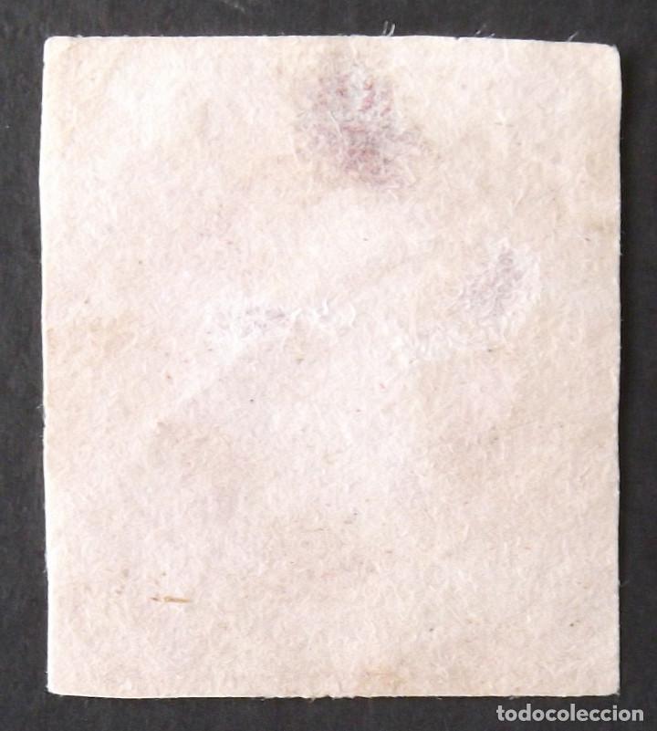Sellos: Edifil 64F, usado. Falso postal. Color carmín. Isabel II (año 1864). Es el de la foto. - Foto 2 - 140839914