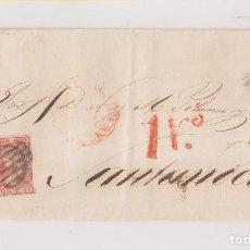 Sellos: FILATELIA. CARTA ENTERA DE VALLADOLID A SANTANDER, CANTABRIA. SOBREPORTE 1 R. 1853. Lote 141252678