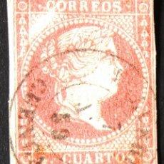 """Sellos: EDIFIL 48, USADO. FECHADOR NEGRO CON AÑO: """"59. CUENCA"""". ISABEL II (AÑO 1856).. Lote 141307310"""