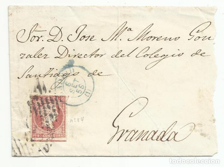 FRONTAL CIRCULADA 1856 DE MADRID A GRANADA EDIFIL 44 PARRILLA NEGRA Y FECHADOR AZUL (Sellos - España - Isabel II de 1.850 a 1.869 - Cartas)