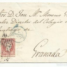 Sellos: FRONTAL CIRCULADA 1856 DE MADRID A GRANADA EDIFIL 44 PARRILLA NEGRA Y FECHADOR AZUL. Lote 141490346