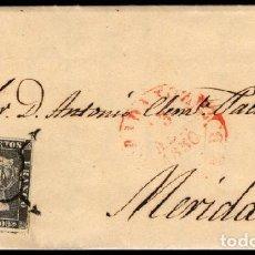 Sellos: ESPAÑA 1850. CARTA BADAJOZ A MERIDA - EDIFIL 1A - 6 CU. NEGRO PL. II - MATASELLO ARAÑA. Lote 142754530