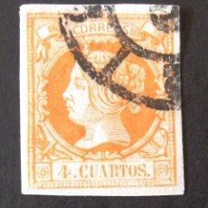 Sellos: 52, USADO. RUEDA CARRETA. ISABEL II (1860-61).. Lote 143046358