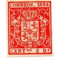 Sellos: ESCUDO DE ESPAÑA 1854 - 2 REALES ROJO. Lote 143189006
