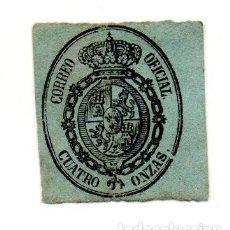 Sellos: ESCUDO DE ESPAÑA 1855 4 ONZAS NEGRO SOBRE VERDE NUEVO. Lote 143198234