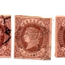 Sellos: ESPAÑA 1862 ISABEL II - EDIFIL 58- 4 CUARTOS CASTAÑO SOBRE ANTEADO. Lote 143304662