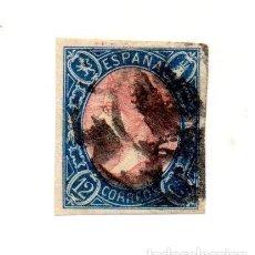 Sellos: ESPAÑA 1865 - ISABEL II - EDIFIL 70 - 12 CUARTOS. Lote 143315994