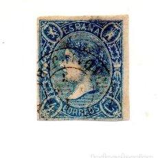 Sellos: ESPAÑA 1865 - ISABEL II - NO EMITIDO -(NE2) - 4 CUARTOS AZUL. Lote 143317526