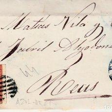Sellos: CARTA COMPLETA DE LLEIDA 1856.CON NUM .44 PARRILLA Y FECHADOR AZULES. Lote 143479082