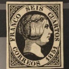 Sellos: 1851-ESPAÑA CLÁSICOS ISABEL II EDIFIL 6* MH- 6 CU. NEGRO -CERTFICADO COMEX Y EXFIMA- PERFECTO. Lote 143728914