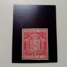 Sellos: ESPAÑA.AÑO 1854.// 6 CUARTOS CARMÍN,NUEVO.. Lote 143767702
