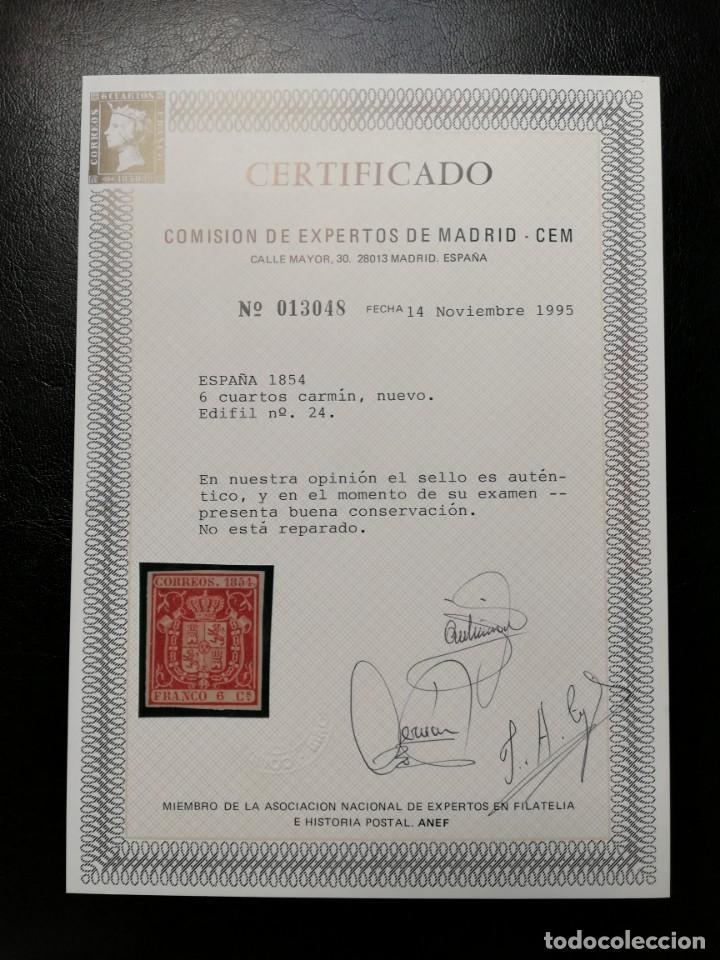 Sellos: ESPAÑA.AÑO 1854.// 6 cuartos carmín,nuevo. - Foto 2 - 143767702