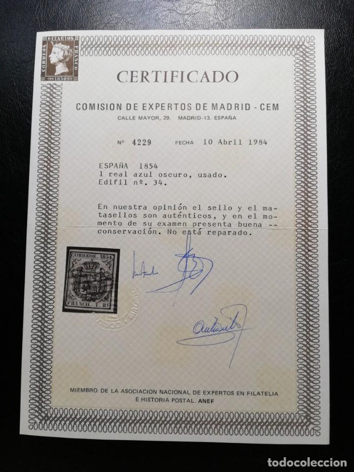 Sellos: ESPAÑA.AÑO 1854.ESCUDO DE ESPAÑA.- 1 real azul oscuro -. - Foto 2 - 143767782