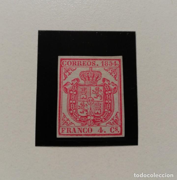 ESPAÑA.AÑO 1854.ESCUDO DE ESPAÑA.4 CUARTOS CARMÍN NUEVO. (Sellos - España - Isabel II de 1.850 a 1.869 - Nuevos)