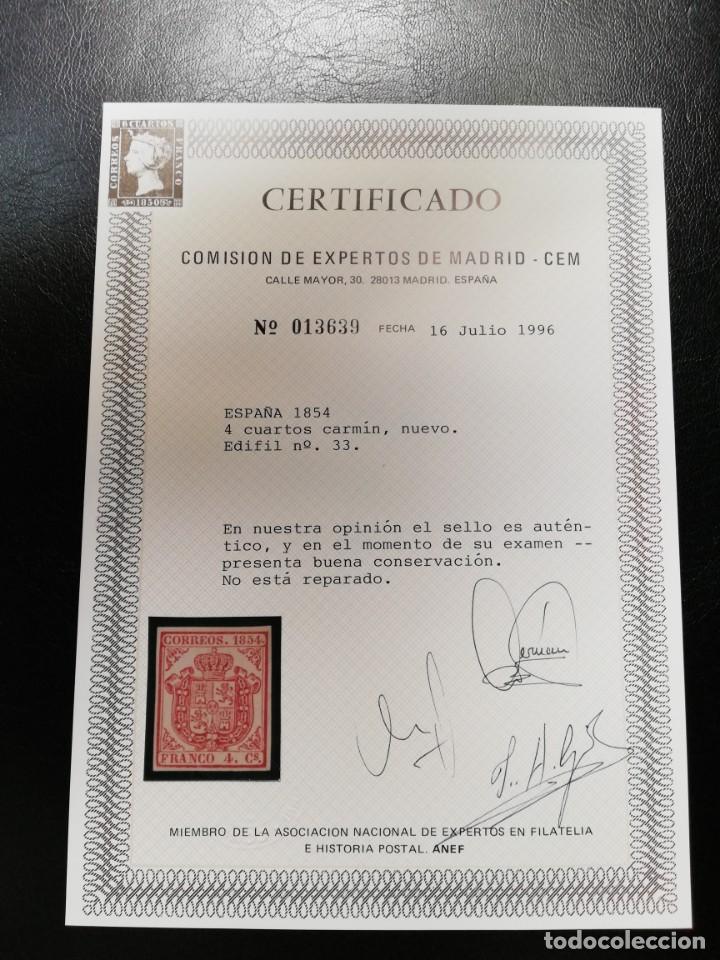 Sellos: ESPAÑA.AÑO 1854.Escudo de España.4 cuartos carmín nuevo. - Foto 2 - 143767866