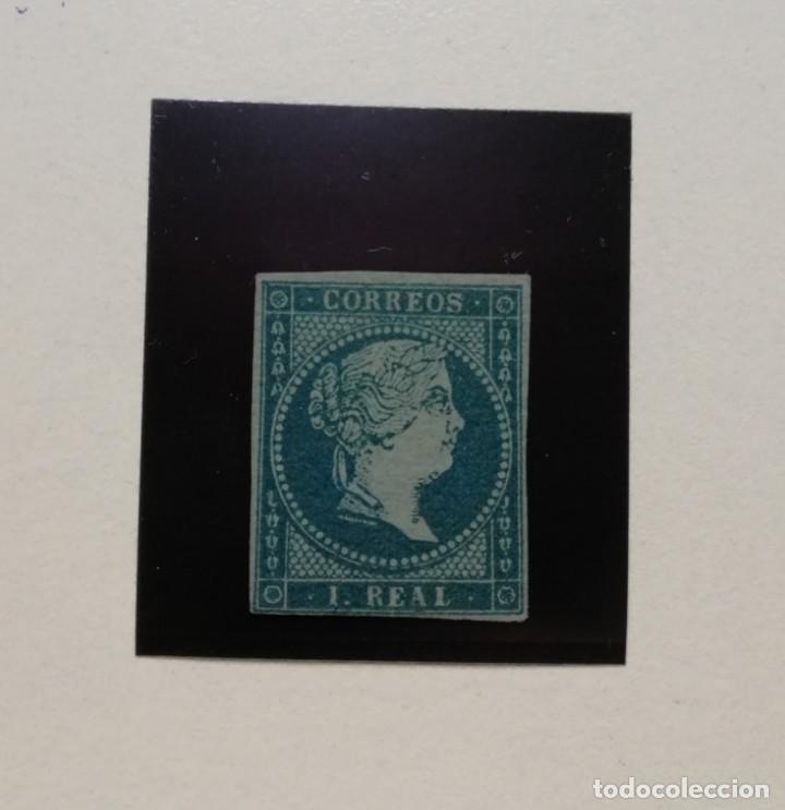 ESPAÑA.AÑO 1855.ISABEL II. - 1 REAL AZUL VERDOSO -. (Sellos - España - Isabel II de 1.850 a 1.869 - Nuevos)