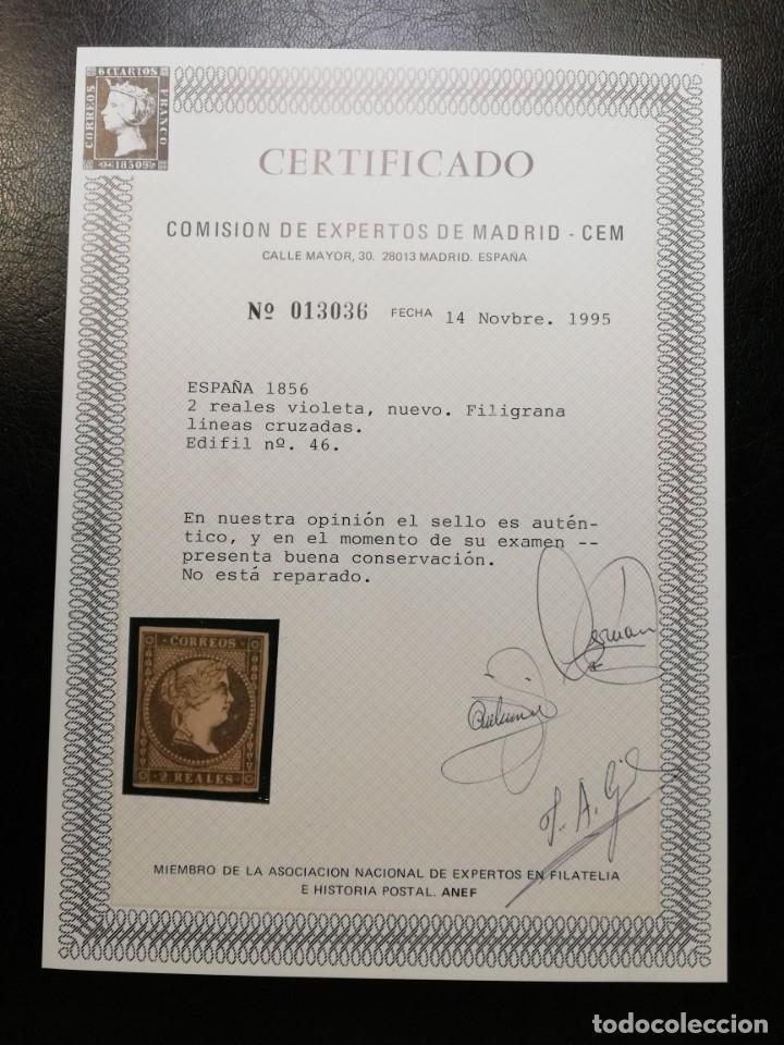 Sellos: ESPAÑA.AÑO 1855.ISABEL II. - 2 reales violeta - - Foto 2 - 143768030