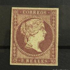 Sellos: 1855-ESPAÑA ISABEL II EDIFIL 46* 2 REALES VIOLETA CERTIFICADO COMEX -LUJO -. Lote 143794330