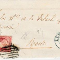 Sellos: CARTA COMPLETA DE MAGIN LLORENS EN LLEIDA -1856 .CON NUM .44 PARRILLA Y FECHADOR. Lote 143808378