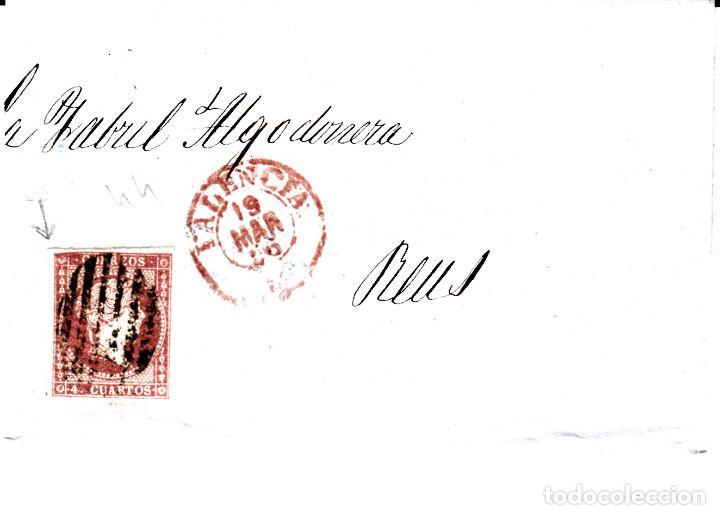 CARTA COMPLETA DE CASAMITJANA EN VALENCIA -1856 .CON NUM .44 PARRILLA Y FECHADOR ROJO (Sellos - España - Isabel II de 1.850 a 1.869 - Cartas)