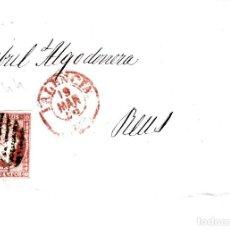 Sellos: CARTA COMPLETA DE CASAMITJANA EN VALENCIA -1856 .CON NUM .44 PARRILLA Y FECHADOR ROJO. Lote 143837846