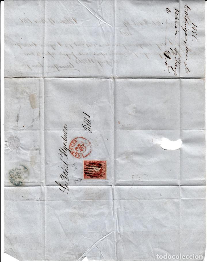 Sellos: CARTA COMPLETA DE CASAMITJANA EN VALENCIA -1856 .CON NUM .44 PARRILLA Y FECHADOR ROJO - Foto 2 - 143837846
