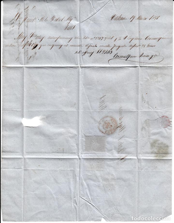 Sellos: CARTA COMPLETA DE CASAMITJANA EN VALENCIA -1856 .CON NUM .44 PARRILLA Y FECHADOR ROJO - Foto 3 - 143837846