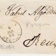 Sellos: CARTA COMPLETA DE BERNAL Y LAFUERZA EN FRAGA -1856 .CON NUM .44 PARRILLA Y FECHADOR . Lote 143838186