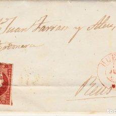 Sellos: CARTA COMPLETA DE LORENZO ACIN EN HUESCA -1856 .CON NUM .44 PARRILLA Y FECHADOR ROJO. Lote 143838590