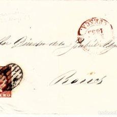 Sellos: CARTA COMPLETA DE TARANCÓN - CUENCA- DESTINO REUS -1853 .CON NUM .17 PARRILLA Y FECHADOR ROJO. Lote 143839034