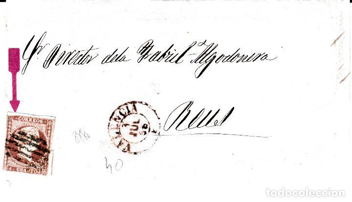 CARTA COMPLETA DE VALENCIA DESTINO REUS -1856 .CON NUM .40 PARRILLA Y FECHADOR ROJO (Sellos - España - Isabel II de 1.850 a 1.869 - Cartas)