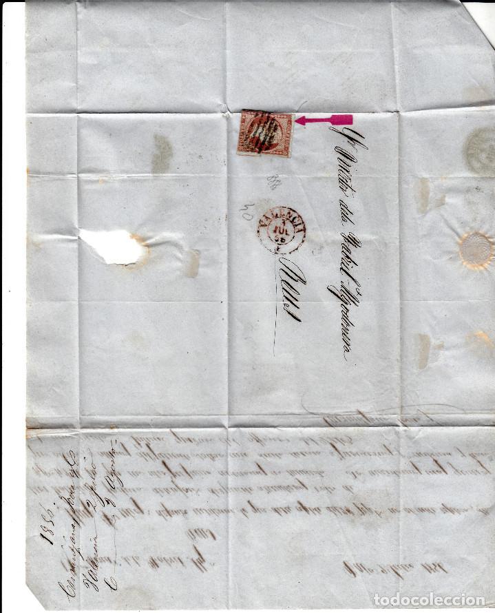 Sellos: CARTA COMPLETA DE VALENCIA DESTINO REUS -1856 .CON NUM .40 PARRILLA Y FECHADOR ROJO - Foto 2 - 143839302