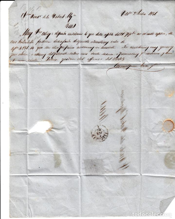Sellos: CARTA COMPLETA DE VALENCIA DESTINO REUS -1856 .CON NUM .40 PARRILLA Y FECHADOR ROJO - Foto 3 - 143839302