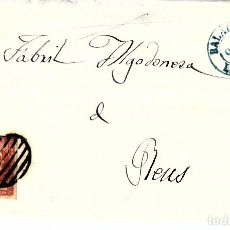 Sellos: CARTA ENTERA CON NUM. 48 DE SEBASTIA SANTAEUGENIA EN BALAGUER -LLEIDA- 1856 PARRILLA FECHADOR AZUL. Lote 143840886