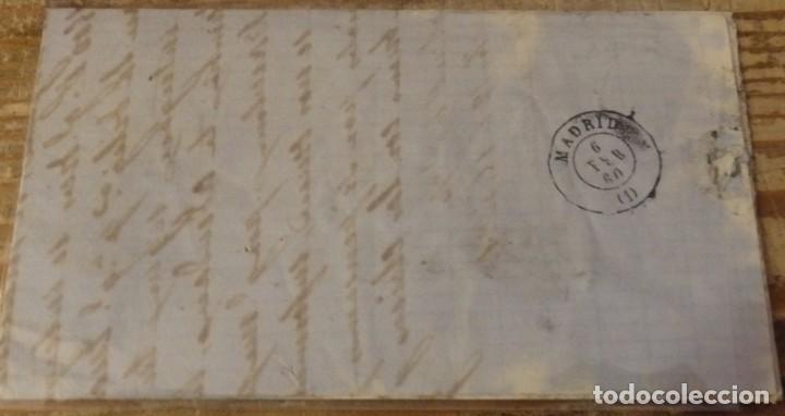Sellos: 1860 , CARTA CIRCULADA ENTRE QUINTANAR DE LA ORDEN Y MADRID, MATASELLOS DE AMBOS LUGARES - Foto 2 - 144086874