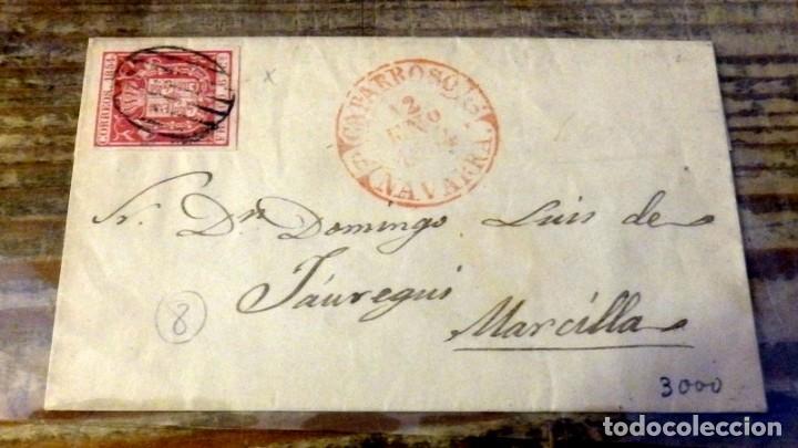 ENVUELTA CIRCULADA 1854 DE CAPARROSO A MARCILLA, NAVARRA (Sellos - España - Isabel II de 1.850 a 1.869 - Cartas)