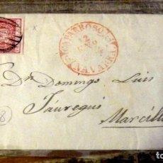 Sellos: ENVUELTA CIRCULADA 1854 DE CAPARROSO A MARCILLA, NAVARRA. Lote 144088310